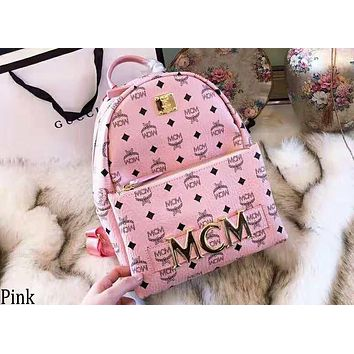 MCM 2018 new rivet printing large capacity backpack casual fashion backpack Pink