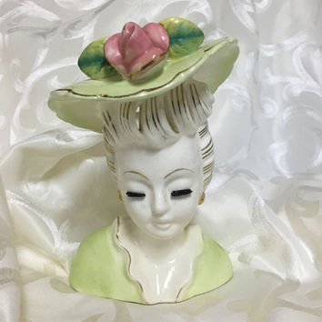Vintage Lady Head Vase / Sophisticated Lady in Mint Green
