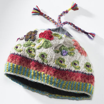 Marishka's Choice ~ Hand knit, wool embroidered Beanie.Fleece Lined. Fair Trade Made in Nepal, India