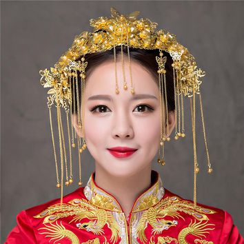 New Vintage Chinese Traditional Gold Color Wedding Hair Jewelry Accessories Queen Hairpins Phoenix Briedes Coronet Hair Tiaras