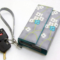 LG G3 Cover / Floral iphone 6 Clutch / Cell Phone Wallet / Wristlet, M8 White Cherry Blossoms - Made to fit all phone models
