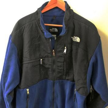 Vintage The North Face Men's Denali Blue Full-Zip Fleece Jacket Size L Large