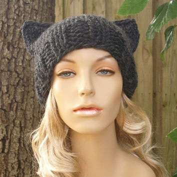 Hand Knit Hat Womens Hat  Cat Beanie Hat in Charcoal by pixiebell