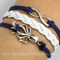 Infinity bracelet, octopus bracelet,  braid leather bracelet
