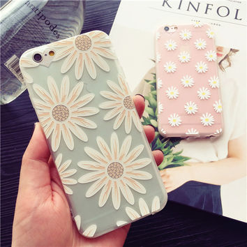 Exquisite fashion daisy transparent soft silicone mobile phone case for iphone 6 6s 6plus 6s plus + Nice gift box!