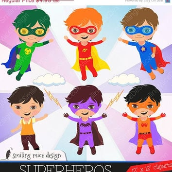 80% OFF SALE Superheros clipart,  superhero digital clipart, super sero clip art, birthday clipart