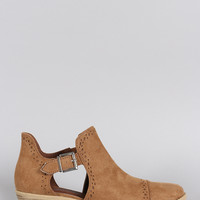 Qupid Perforated Suede Buckled Cutout Cowgirl Ankle Boots
