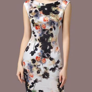 Streetstyle  Casual Women's Chinese Ink Printed Round Neck Bodycon-dress