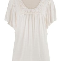 Lightweight Crochet Neck Tee With Flutter Sleeves