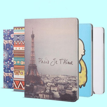 New Fashion Smart Case For iPad 4/3/2 Print PU Leather Cover Case For Apple iPad Air 1 iPad Air 2 Case Fast shipping