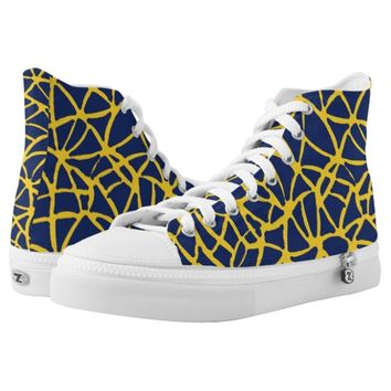 dark blue-yellow High-Top sneakers