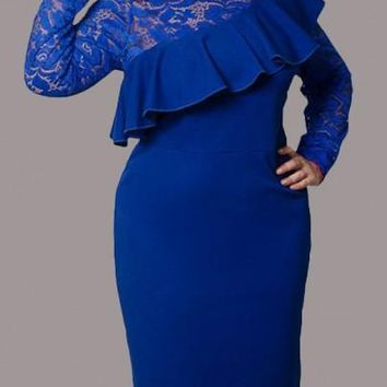 Blue Patchwork Lace Ruffle Cut Out Bodycon Plus Size Formal Elegant Midi Dress