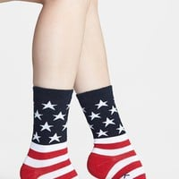 Women's K. Bell Socks 'American Flag' Crew Socks, Size 9/11 - Red