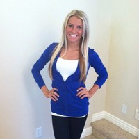Royal Blue Button Up Cardigan