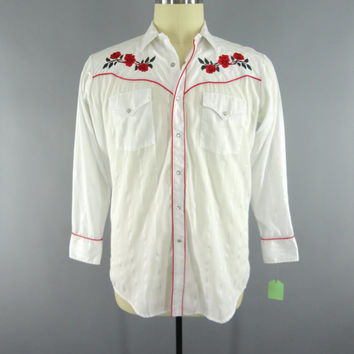 Vintage 1970s Western Shirt / 70s Rockabilly Shirt / Red Embroidered Roses / MWG Canada / Country Ranch Wear