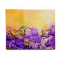 "Ebi Emporium ""Into Eternity"" Purple Yellow Painting Birchwood Wall Art"