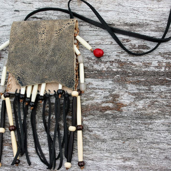 Grey Olive Nubuck Leather and African Springbok Fur Medicine Bag Necklace Native American Shaman Spiritual Supply