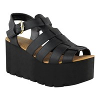 Fashion Thirsty Womens Chunky Gladiator Strappy Sandals Wedges Platform Shoes Size