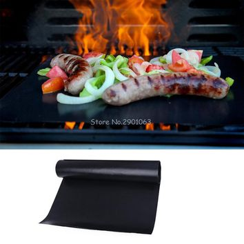 1Pc Reusable Teflon Non-stick Barbecue Mat Baking Pan Grilling Outdoor Picnic Teflon Cooking Sheets 40*33cm H06