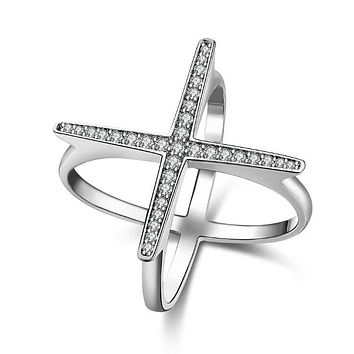 Swarovski Elements Criss-Cross Statement Ring Set in White Gold 925 Sterling Silver Unique Casual Rings