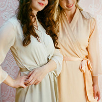 6 Custom bridesmaid robes in lined chiffon. Chiffon robes for the bridal party in neutrals and pastels.