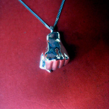 Fist necklace solidarity venceremos jewelry charm, clenched fist, iron fist pendant sterling silver unity sign unisex handmade jewelry