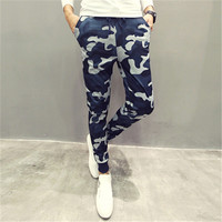 Casual Men Pants Cool Blue Camouflage Slim Fit New Spring Style Pencil Pants Hip Hop Trousers Men Quality Men Joggers