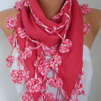 Spring Red Pashmina Scarf Easter Oversize Scarf Shawl Cowl Scarf Bridesmaid Gift Gift Ideas For Her Women Fashion Accessories Mother's Gift
