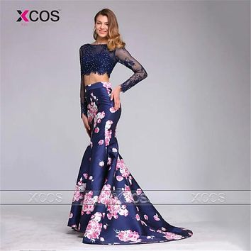 2 Piece Prom Dresses Navy Blue Crop Top Mermaid Evening Dress Floral Pattern Formal Gown Lace Beads Vestidos De Formatura SA498