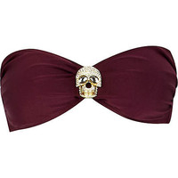Dark red diamante skull bandeau bikini top