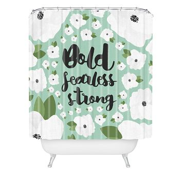 Allyson Johnson Bold Floral Mint Shower Curtain