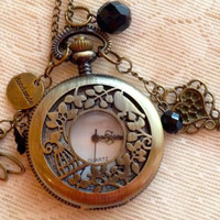 Antique Bronze Pendant Necklace:  Large Pocket Watch with keys, Dragonfly and Butterfly.