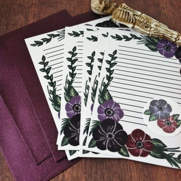 Dark floral stationery letter set