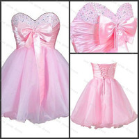 Pink organza prom dress cocktail dress with bow with sequins lace up back