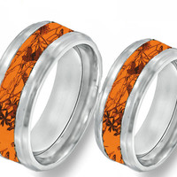 Orange Camouflage On Silver Tungsten Couples Band Rings