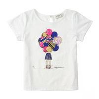 Milly Girl w/ Balloons Jersey Tee, White,