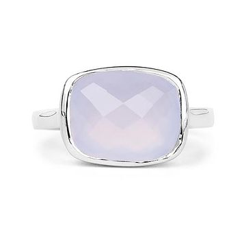 A Natural 4.1CT Checkerboard Cut Blue Chalcedony Bezel Set Ring
