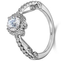 Classic 1.1ct Round Cut Halo White Cz 925 Sterling Silver Wedding Engagement Ring