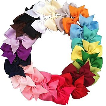20Pcs/lot Kids Girls Hair Bows Band Boutique Alligator Clip Grosgrain Ribbon