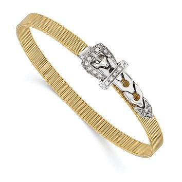 14k Two Tone Gold and CZ Buckle Adjustable Mesh Bracelet, 7-7.5 Inch