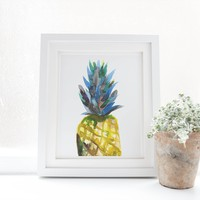 Watercolor Pineapple Peekaboo Art Print
