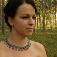 Gray beaded necklace. Wedding. Victorian Lace Collar Necklace. Beadwork. Beaded Jewelry, Ready to ship.