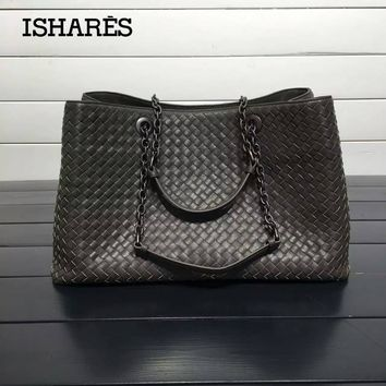 ISHARES Genuine Leather Sheepskin Handbags lambskin high quality Women weave Shoulder Bags Chain Totes Large Capacity IS168041