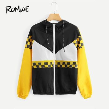 ROMWE Color Block Drawstring Plaid Jacket Women  Spring Autumn Hooded Casual Clothing Female Multicolor Sporty Coat