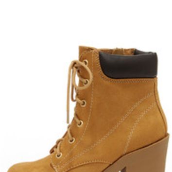 Flirty Work Tan High Heel Work Boots