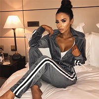 Women Casual Stripe Velvet Long Sleeve Zip Cardigan Hooded Trousers Set Two-Piece Sportswear
