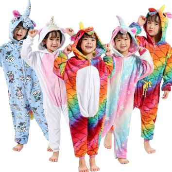 28 New Style Kids Pajamas Sets Winter Flannel Animal Unicorn Pegasus Panda Boys Girls Pajamas Onesuit Children Sleepwear Cosplay