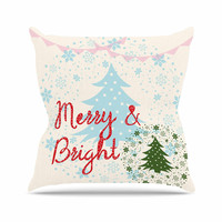 """Famenxt """"Merry And Bright"""" Holiday Typography Outdoor Throw Pillow"""