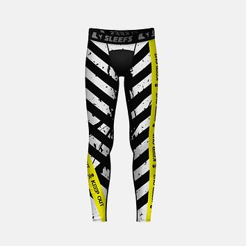 Keep Out Black Yellow Tights for Kids