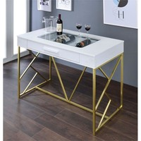 Roxy Contemporary Counter Height Wine Table, White and Champagne